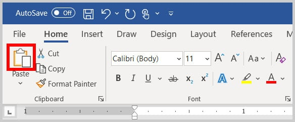 Paste button in the Home tab in Word 365