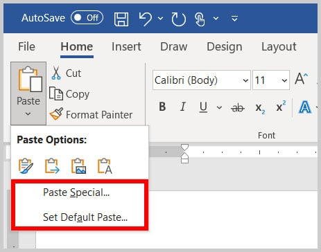 Paste Special and Set Default Paste options in Word 365