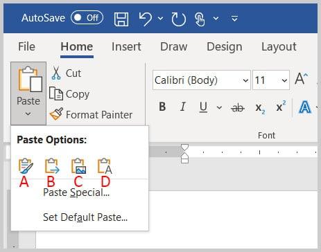 Paste Options menu in Word 365