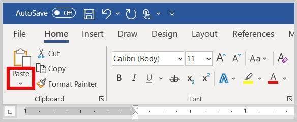 Paste Options menu arrow in Word 365