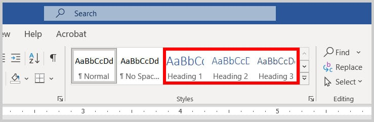Built-in heading levels in the Styles gallery in Word 365