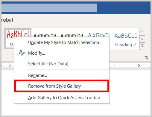 Remove from Style Gallery option in the Style gallery shortcut menu in Word 365