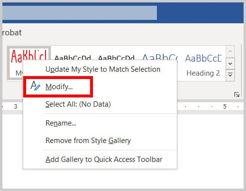 Modify option in the Styles gallery shortcut menu in word 365