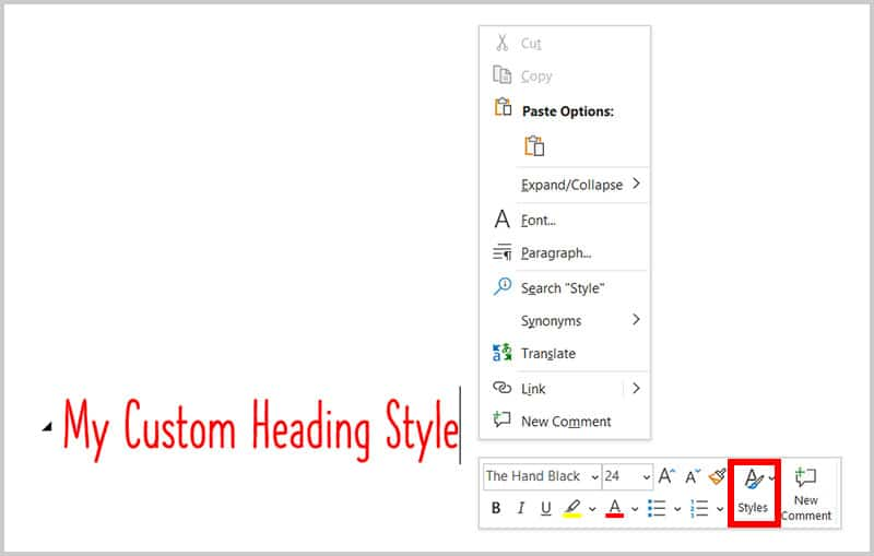 Styles button in the Mini toolbar in Word 365