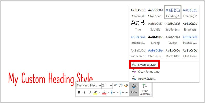 Create a Style option in the Mini toolbar in Word 365