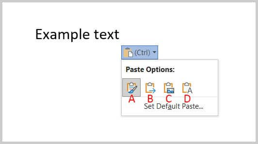 Paste Options button menu in Word 365
