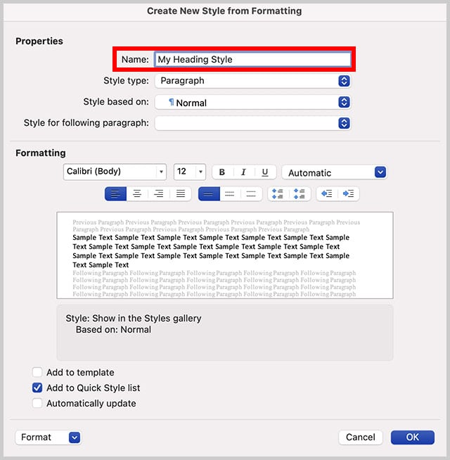 Name text box in the Create New Style from Formatting dialog box in Word for Mac