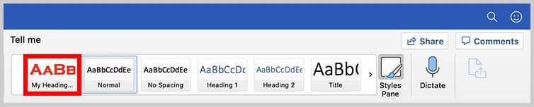 Custom heading style in the Styles gallery in Word for Mac