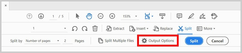 Output Options button in Adobe Acrobat