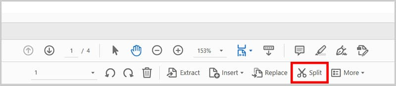 Split button in the Organize Pages toolbar in Adobe Acrobat