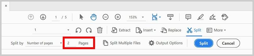 """Split by"" secondary menu in Adobe Acrobat"