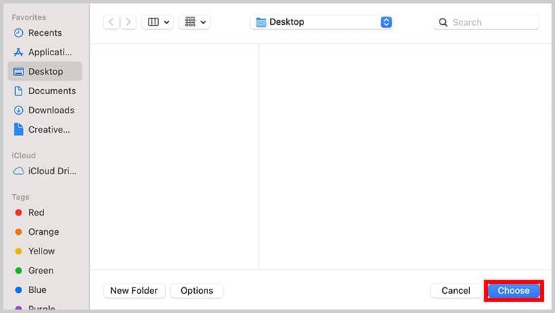 Choose button in the Finder in Mac