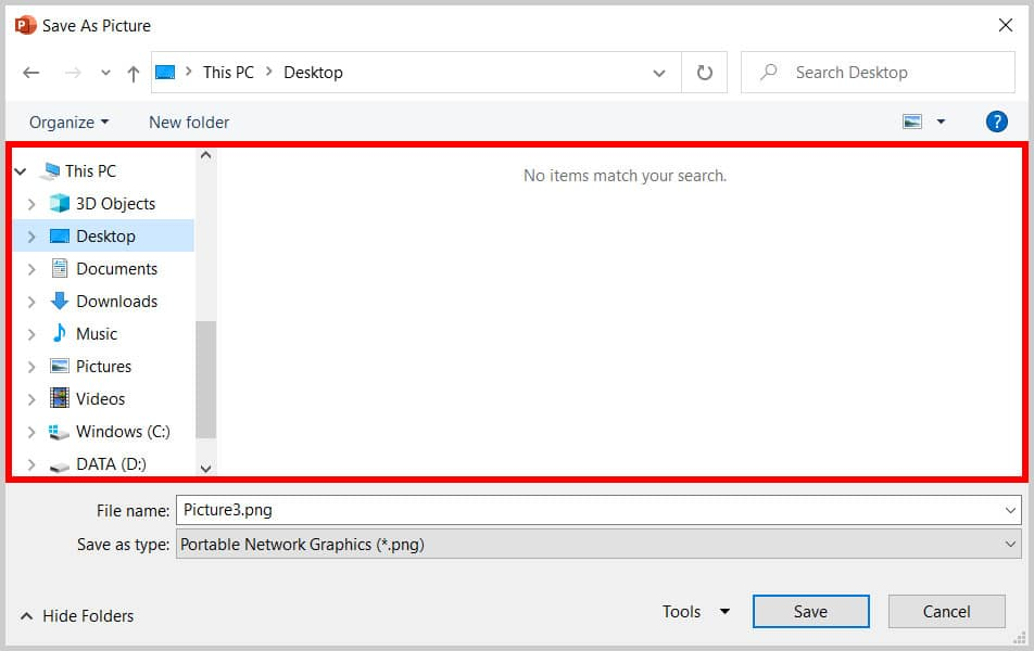 Locations in the Save As Picture dialog box in PowerPoint 365