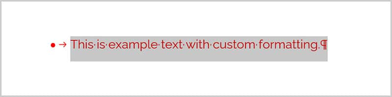 Example text selected with paragraph mark in Word 365