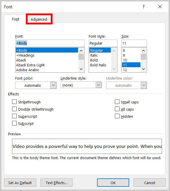 Advanced tab in the Font dialog box in Word 365