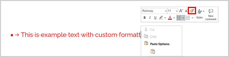 Format Painter in the Mini toolbar in Word 365