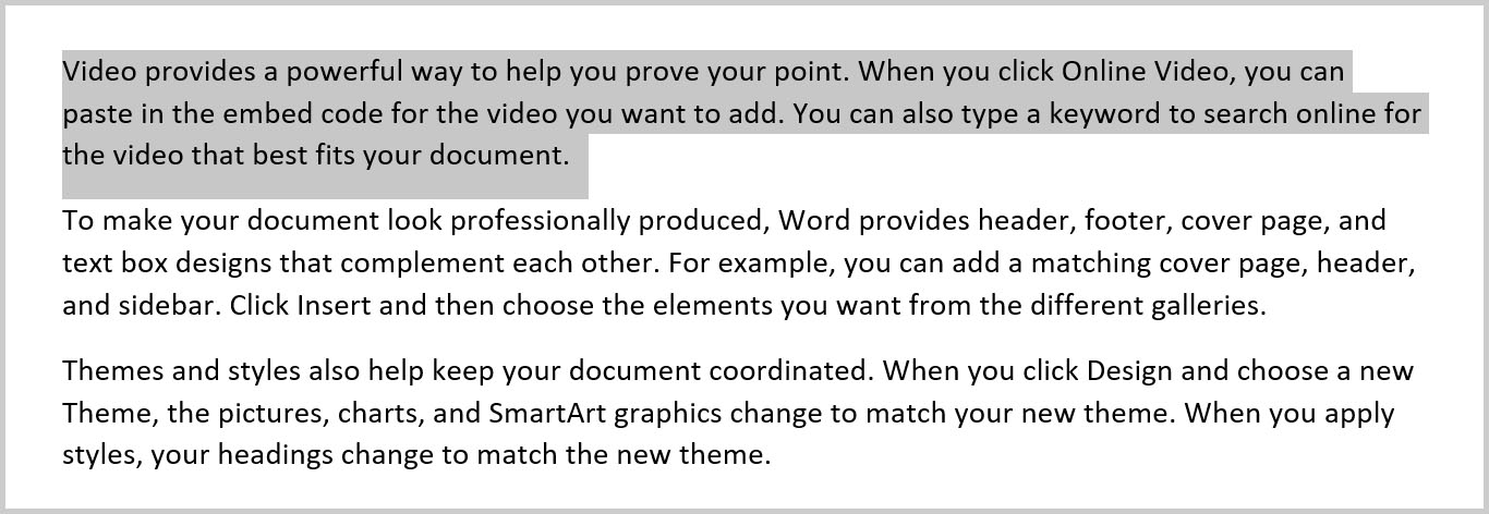 Selected text in Word 365