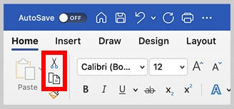 Cut and Copy buttons in the Home tab of Word for Mac