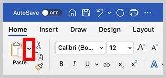 Paste menu arrow in the Home tab in Word for Mac