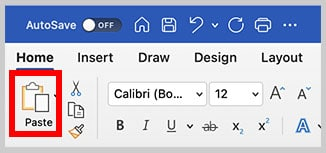 Paste button in the Home tab in Word for Mac