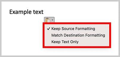 Paste Options menu in Word for Mac