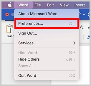 Preferences option in the Word menu in Word for Mac