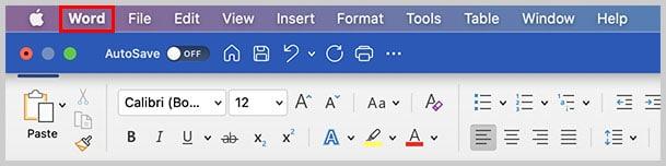 Word menu in Word for Mac