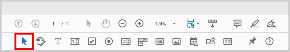 Selection arrow in the Prepare Form toolbar in Adobe Acrobat