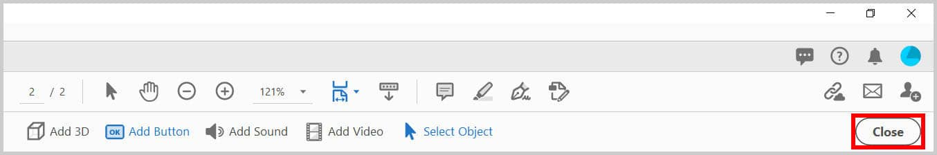 Close button in the Rich Media toolbar in Adobe Acrobat