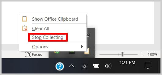 Stop Collection option for the Clipboard in the Taskbar