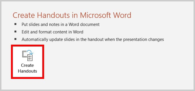 Create Handout button in the Export screen in the Backstage view in PowerPoint 365