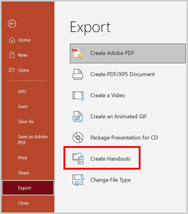 Create Handout option in the Export screen in the Backstage view in PowerPoint 365