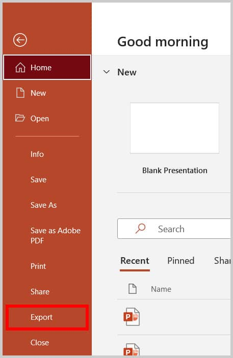 Export option in the Backstage view in PowerPoint 365