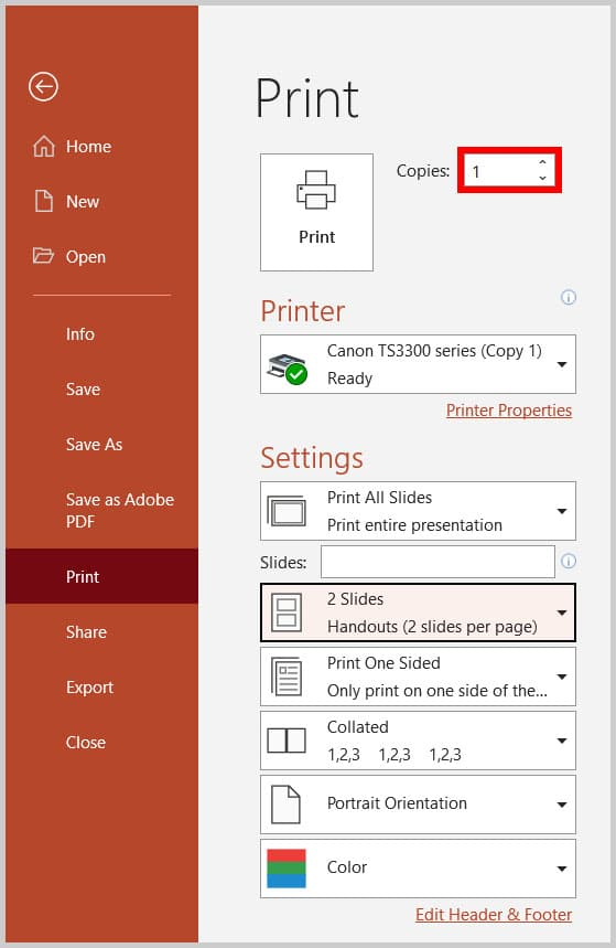 Copies text box in the Print screen in the Backstage view of PowerPoint 365