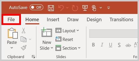File tab in PowerPoint 365