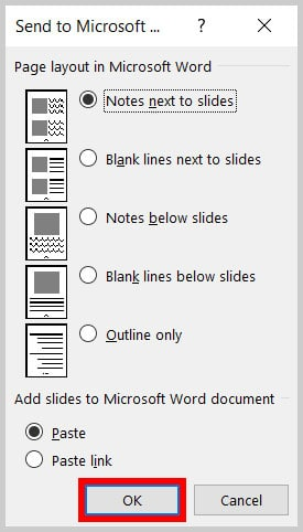 OK button in the Send to Microsoft Word dialog box in PowerPoint 365