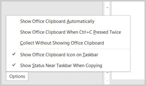 Options menu in the Clipboard pane in Word 365