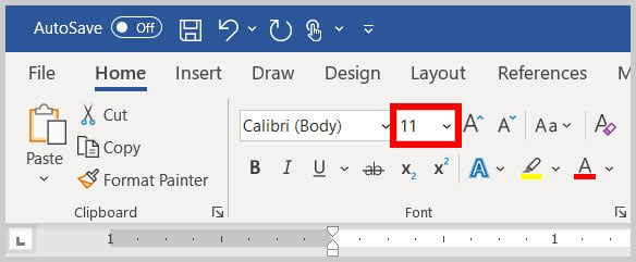 Font Size menu in Word 365