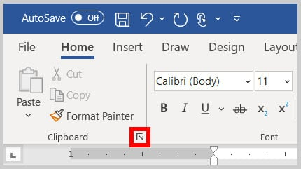 Dialog box launcher in the Clipboard group in the Home tab in Word 365