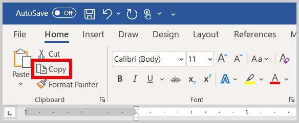Copy button in the Clipboard group in the Home tab of Word 365