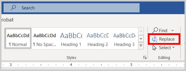 Replace button in the Home tab in Word 365