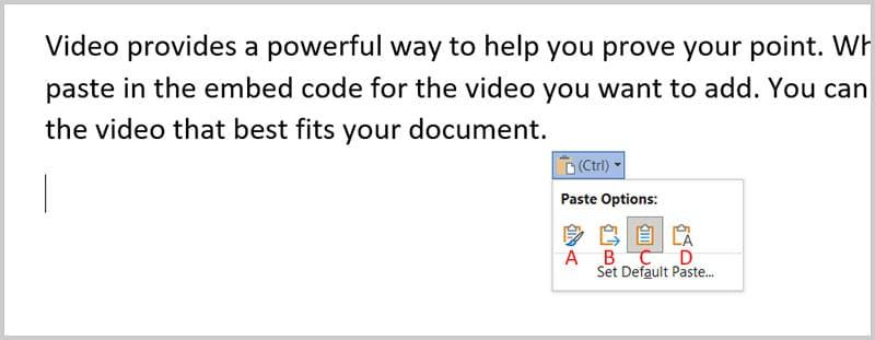 Paste Options shortcut menu in Word 365
