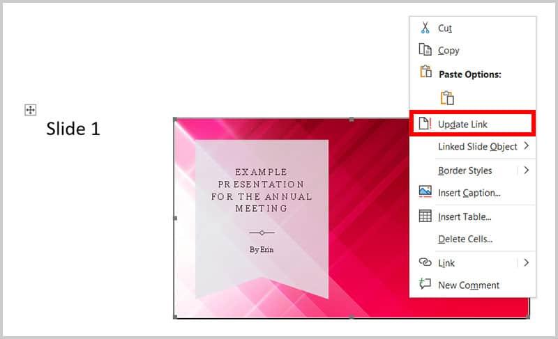 Update Link option in Word 365