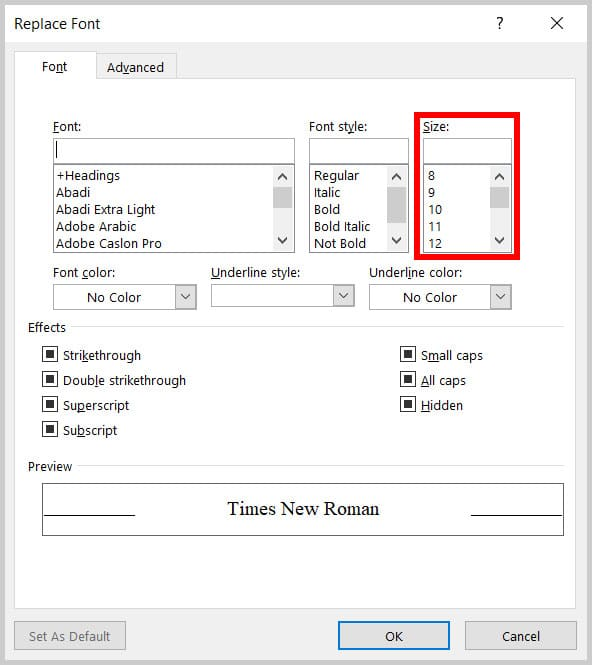 Size menu in the Replace Font dialog box in Word 365
