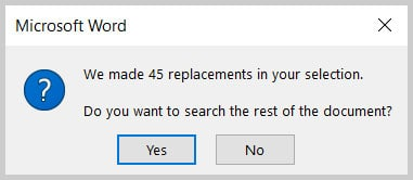 Replacement information box in Word 365