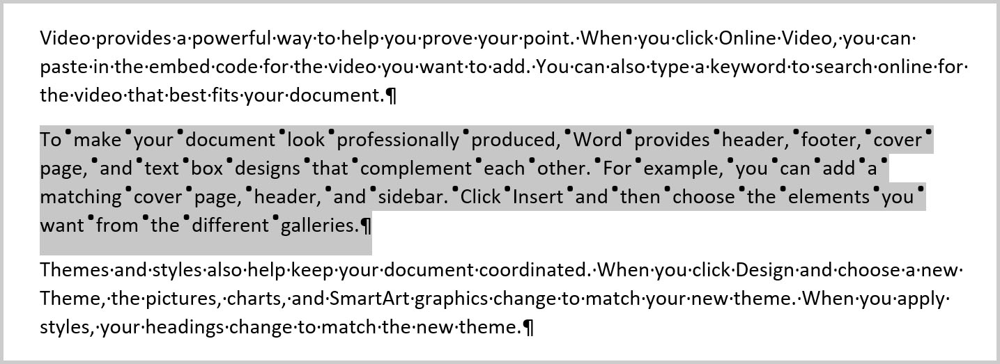 Selected text with increased word spacing in Word 365