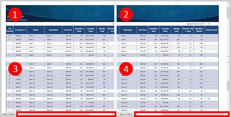 Spreadsheet Split view horizontal scroll bars in Adobe Acrobat