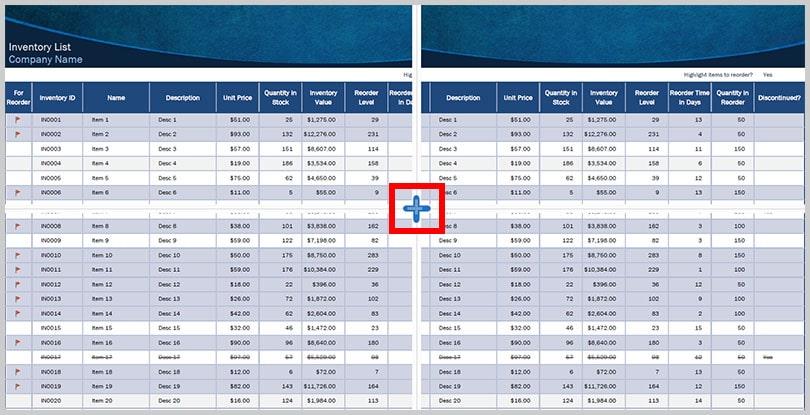 Spreadsheet Split view resizing handles in Adobe Acrobat