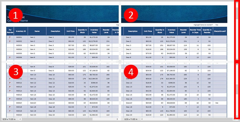 Spreadsheet Split view vertical scroll bars in Adobe Acrobat