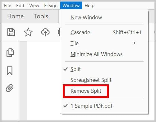 Remove Split option in the Window menu in Adobe Acrobat